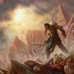 Rise of the Eldrazi - Gideon standing over slain Eldrazi